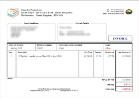Sample invoice test page